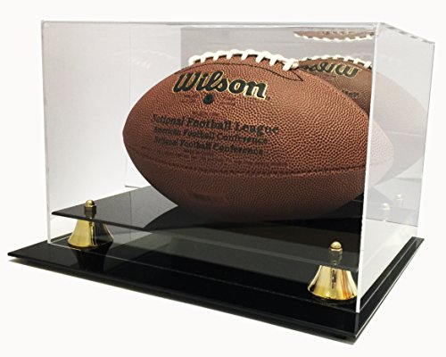 Max Deluxe UV Protected Acrylic Full Size Football Display Case with (Autograph Football Case)