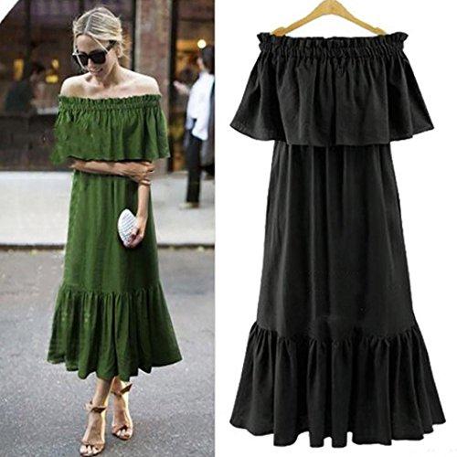 Womens Fashin Off The Shoulder Dresses Black White Maxi Long Lace Floral Dress