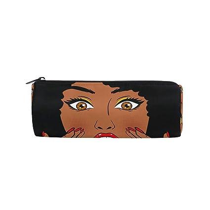 Estuche cilíndrico para lápices, diseño de mujer africana: Amazon.es: Oficina y papelería