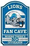 """NFL Detroit Lions 05429010 Wood Sign, 11"""" x 17"""", Black"""