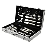 BBQ Grill Tools Set 18 Barbecue Accessories – Stainless Steel Utensils Portable Aluminium Carrying Case – Complete Outdoor Grilling Kit Party, Birthday Gift Man (Silver)