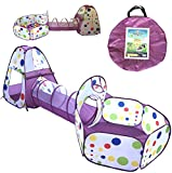 Playz 3-Piece Kids Play Tent Crawl Tunnel and Ball Pit with Basketball Hoop Playhouse for Boys, Girls, Babies, and Toddlers (Purple)