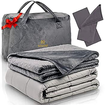 Image of Vintap Premium Cooling Weighted Blanket Twin Size 48x78 |15 LBS Weight | Bonus Minky Duvet, 1 Bamboo Pillowcase & Soft Minky Handbag Vintap B079C38VQ2 Weighted Blankets