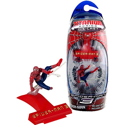 Marvel Year 2007 Spider-Man 3 Titanium Die Cast Series 3 Inch Tall Action Mini Figure : SPIDER-MAN Shooting Web with Display Base 3 Diecast Action Figure