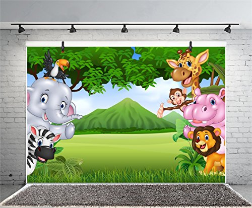 Leyiyi Africa Zoo Summer Scenery Backdrop 5x3ft Photography Backdrop Cute Animals Green Endless Lawn Children Baby Birthday Party Backdrop Kids Infant Room Decor Children Baby Portraits Studio -