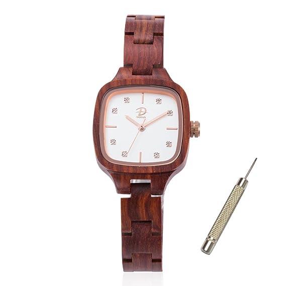 Reloj de madera para Mujer, Reloj de pulsera de madera de cuarzo ligero hecho a