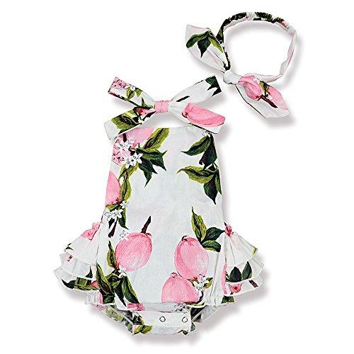 Yoveme Baby Girl Floral Print Ruffles Romper Summer Clothes + Headband