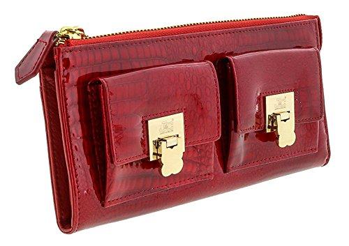 Jacky&Celine J11-012 ROSSO Red Zippered Large Wallet for womens - Celine Wallet