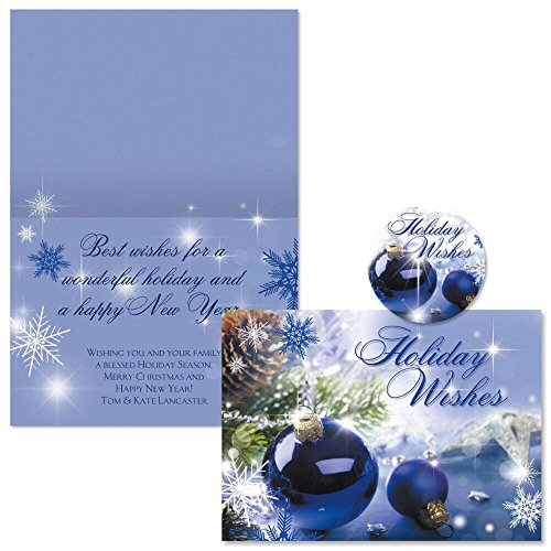 Blue Display Personalized Christmas Cards with Free Matching Seals (Set of 24)