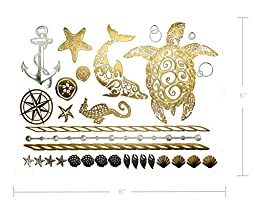 Premium Metallic Tattoos - 75+ Shimmer Designs in Gold, Silver, Black - Temporary Fake Jewelry Tattoos - Bracelets, Feathers, Wrist & Arm Bands, & More (Aja Collection)
