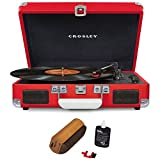 Crosley Cruiser Portable 3-Speed Turntable with Bluetooth Red (CR8005D-RE) with RCA D4+ Vinyl Record Cleaning Fluid System