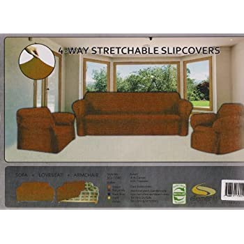 EverydaySpecialcom STRETCH FORM FIT-3 Pc. Set, Couch/Sofa + Loveseat + Chair Covers-BROWN