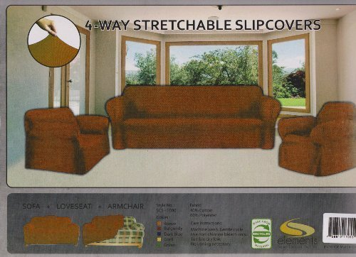 EverydaySpecialcom Stretch Form FIT - 3 Pc. Slipcovers Set, Couch/Sofa + Loveseat + Chair Covers - Brown, 3 Pcs Chair Loveseat Sofa