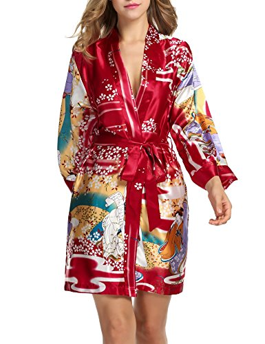 (Hotouch Women's Kimono Robe Short Sleeves Red)