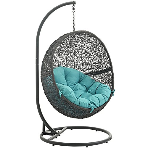 LexMod EEI-2273-GRY-TRQ Hide Outdoor Patio Swing Chair, Gray Turquoise by Modway