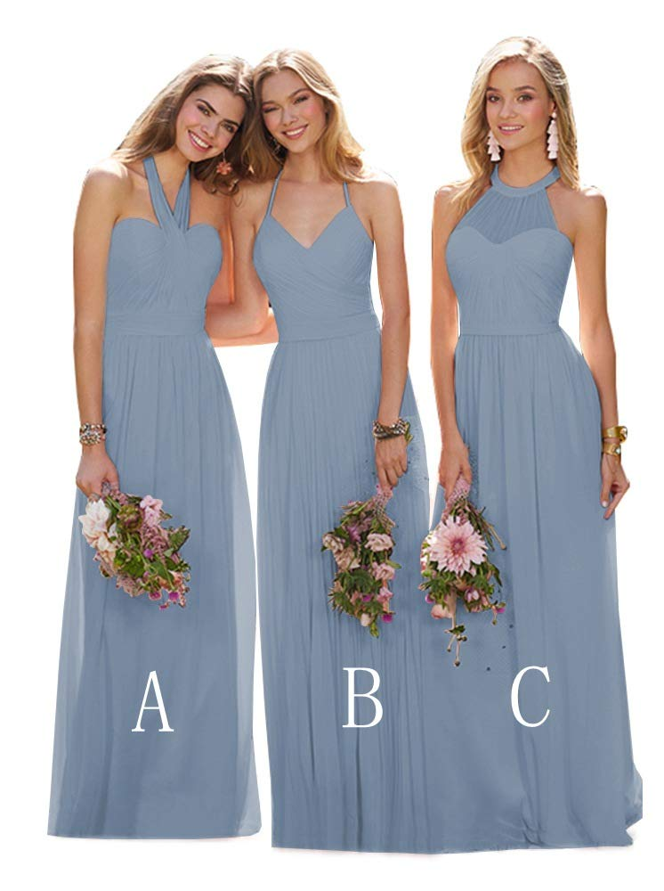 US Women/'s Long Chiffon A-line Beading Bridesmaid Dress Evening Party Prom Gown