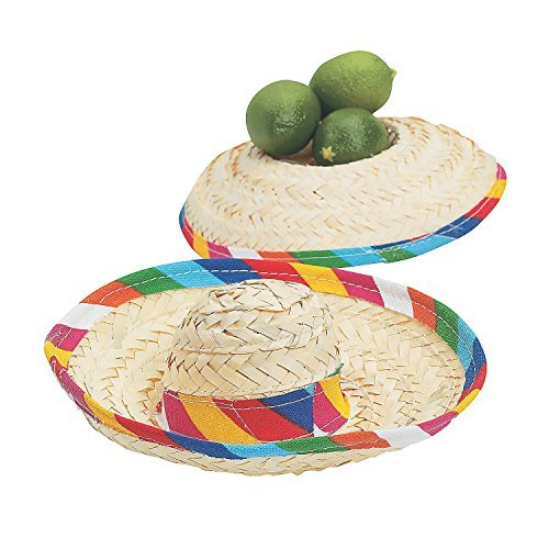 Inspired Silk Peace Top (Mini Sombrero Hats - Mexican Party Decor - Tabletop Party Supplies - 12 Pack)