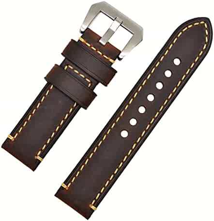 Dark Brown 22mm Genuine Leather Wristwatch Watch Band Oil Tan Vintage Strap for Men with Stainless Buckle