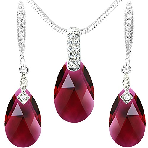 Red Swarovski Crystal Drops - Necklace Earrings Drops Jewelry Set - Silver Tone
