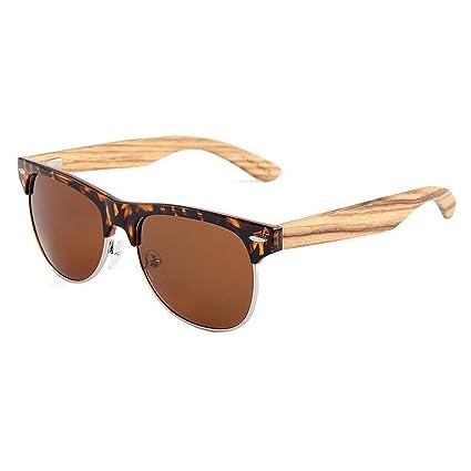 Aclth Lente Coloreada Gafas de Sol de Madera polarizadas Unisex Classic Semi-sin Montura Color