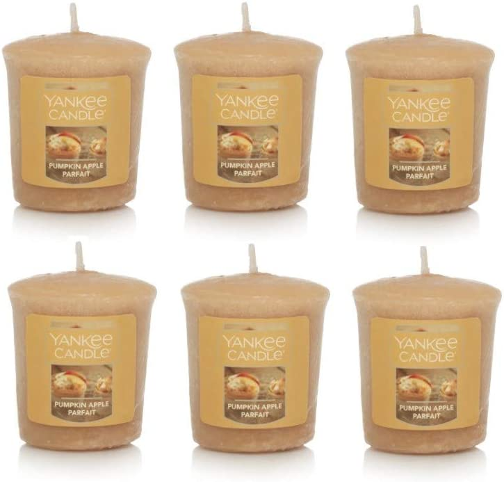 Yankee Candle Lot of 6 Pumpkin Apple Parfait Votive Candles