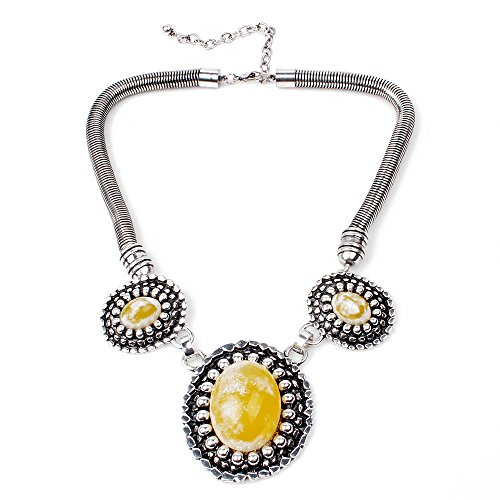 White-glazed Yellow Oval Stone Bib Statement Necklace (Old West Outfit)