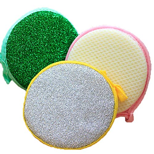 20pcs Multi-Purpose Kitchen Double Side Round Dishwashing Sponge Scrubber Rag Dish Pad Cleaner Home Kitchen Cleaning Tool Sponges