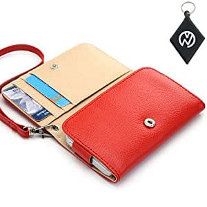 Celkon A97i Wristlet Wallet Clutch w/Built-In Card Compartments NuVur &153;- RED