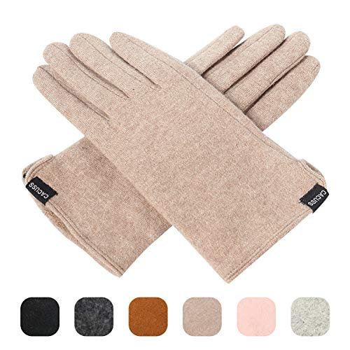 Nylon Striped Gloves (CACUSS Women's Winter Wool Knit Gloves Touchscreen Texting Finger Tips with Warm Fleece Lining (Light tan))