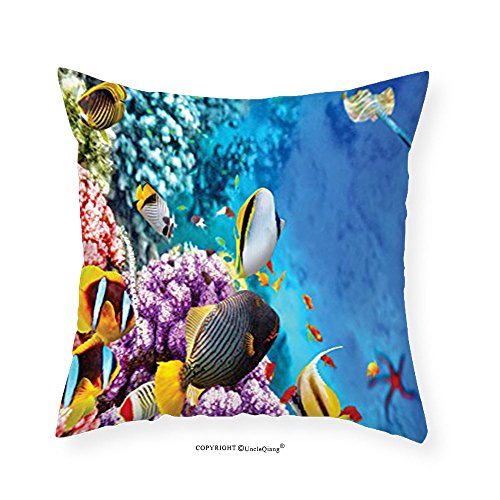 """VROSELV Custom Cotton Linen Pillowcase Ocean Decor Collection Clear Underwater Sea Animal World with Corals and Tropical Fishes and a Stingray Starfish Sea Print Bedroom Living Room Dorm Blu 22""""x22"""""""