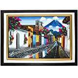 Handpainted 20X16 Wooden Framed Oleo Landscape Painting of Antigua City in Guatemala