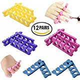 New8Beauty Toe Separators Toe Spacers (12 Pairs)- Apply Nail Polish During Pedicure Manicure - Stocking Stuffers for Men Women Teens Girls Kids - Nail Spa Party Supplies