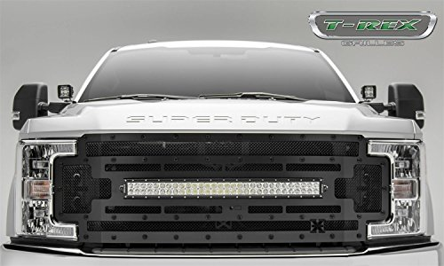 T-Rex Grilles 6315371-BR Black Stealth Torch Grille (Ford Super Duty) Br Chrome Grille Grill