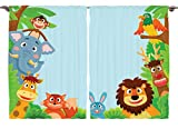 Ambesonne Girls Boys Nursery Kids Baby Decor Collection, Cute Jungle Cartoon Animals Parrot Bird Bunny Fox Giraffe Monkey Art, Window Treatments for Kids Bedroom Curtain 2 Panels Set, 108X63 Inches