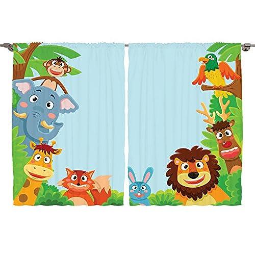 Cute Jungle Cartoon Animals Parrot Bird Bunny Fox Giraffe Monkey Art Window Treatments For Kids Bedroom Curtain 2 Panels Set 108X63 Inches