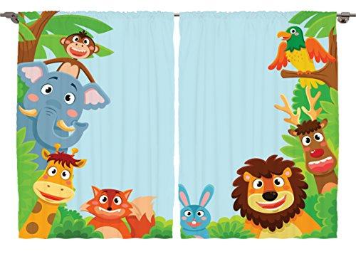 Ambesonne Girls Boys Nursery Kids Baby Decor Collection, Cute Jungle Cartoon Animals Parrot Bird Bunny Fox Giraffe Monkey Art, Window Treatments for Kids Bedroom Curtain 2 Panels Set, 108X63 Inches from Ambesonne