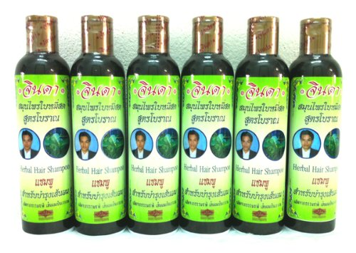 6x Jinda's Herb Herbal Anti-hair Loss Reduce Hair Fall Falling Thin Bald Shampoo Best Product From Thailand by Jinda