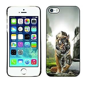 Tiger Steampunk - Metal de aluminio y de plástico duro Caja del teléfono - Negro - iPhone 5 / 5S