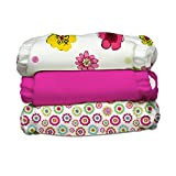 Charlie Banana 3 Piece Diapers with 6 Inserts Hybrid AIO, Hot Blooms