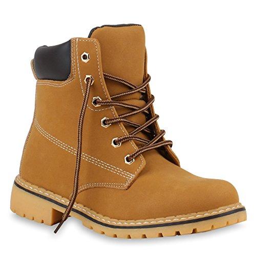 Stiefelparadies Damen Herren Unisex Worker Boots Profil Robuste Stiefeletten Outdoor Schuhe Glitzer Schnürer Print Schuhe Übergrößen Flandell Braun Dunkelbraun