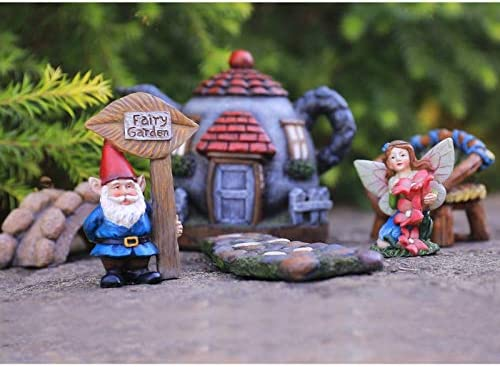 FAIRY GARDEN GNOME ACCESSORIES KIT - HAND PAINTED MINIATURE TEAPOT FAIRY HOUSE FIGURINE SET OF 6 PCS, INDOOR & OUTDOOR HOLIDAY ORNAMENTS GIFTS FOR MOM GIRLS BOYS ADULTS, YARD LAWN DECOR