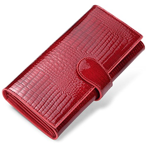 JEEBURYEE RFID Wallets for Women tri fold Luxury Leather Ladies Clutch Travel Long Purse Wallet Red