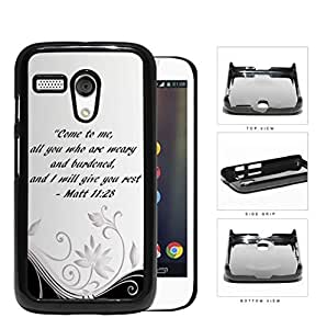 Pretty Black and White Floral Design with Matt 11:28 Bible Verse Hard Snap on Phone Case Cover Motorola Moto G