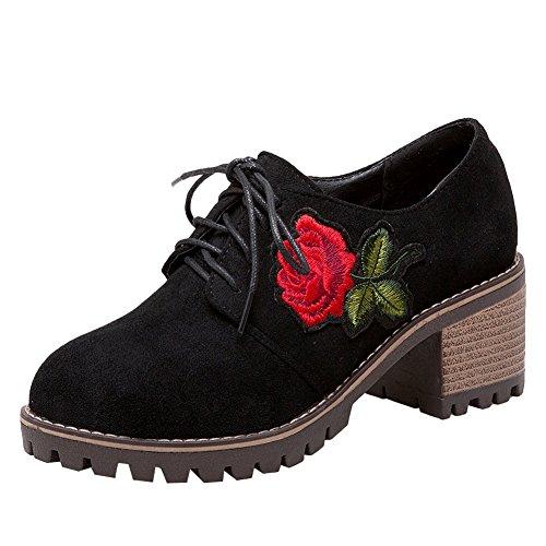 MissSaSa Lacet des Fermeture Fleurs Noir Escarpins Décoration Femmes Bqx8wBgr