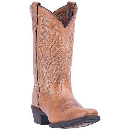 Laredo Ladies' Christine 11-Inch Distressed Leather Stitched Design Tan Western Cowboy Boot