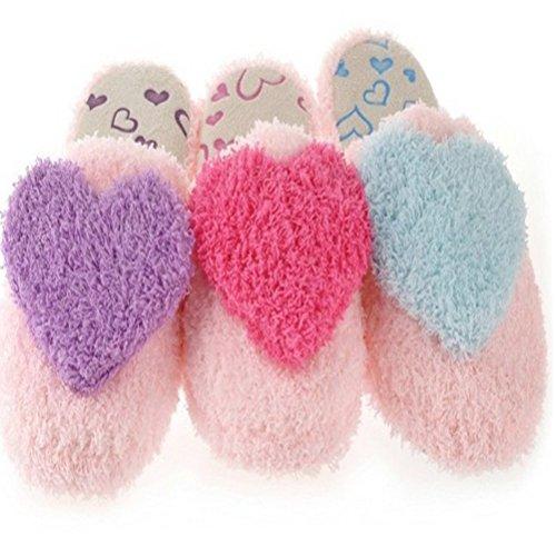 coeur d'intérieur pourpre d'intérieur Pantoufles d'amour 37 femmes 36 les taille chaudes de d'hiver d'automne de pantoufles pour coton des pantoufles BESTOYARD hommes zX1wx8q44