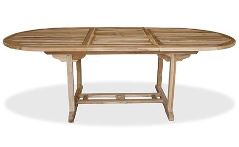 Gartentisch oval ausziehbar  Amazon.de: KMH®, Ausziehbarer Gartentisch - ECHT TEAK! (170 - 230 ...