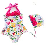BEFULY Girls One Piece Swimsuits With Hat Floral Printed Stylish Summer Halter Swimwear (5T)
