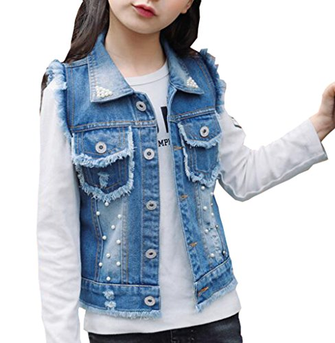 MYtodo Girls Denim Vest Pearl Burr Childs Short Vest Jacket (8-9 Years)