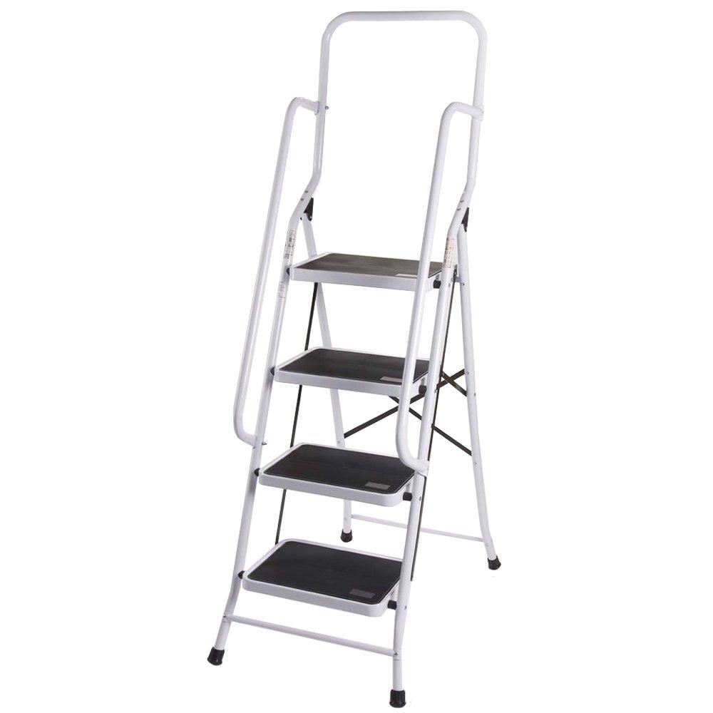 Home Vida 4 Step Ladder With Safety Handrail Foldable Safety Non Slip Matt Safe Heavy Duty Lassic 333409